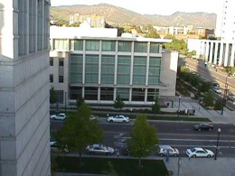 A partial view of the LDS Church History Building in Salt Lake City.