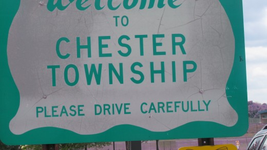 The Welcome sign to the progressive city of Chester Township, located off 95 South pass Philadelphia International Airport..