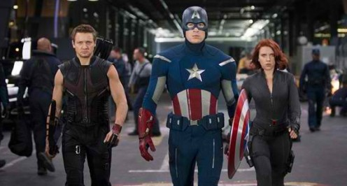 Hawkeye, Captian America and Black Widow getting ready for battle