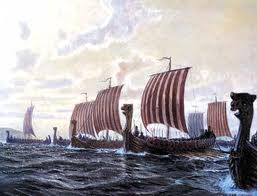 Knut's fleet leaving the Isefjord, on the north coast of Sjaelland, into the Kattegat with the sun in the east