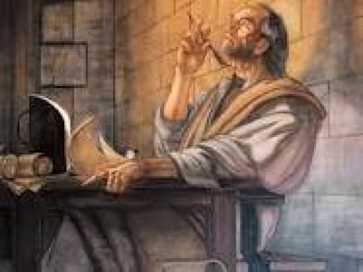 SAINT PAUL COMPOSING HIS INSPIRING LETTERS