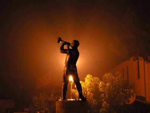 Statue tribute to the annual Gypsy Trumpet Festival in Guca, Serbia.
