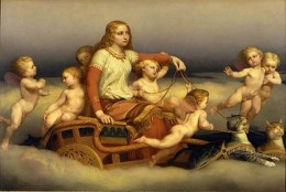 Norse goddess, Freya, on her chariot that is drawn by her cats