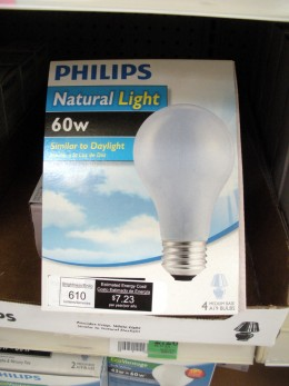 Standard 60 Watt bulbs, clearly marked at $2.26 per 4-pack