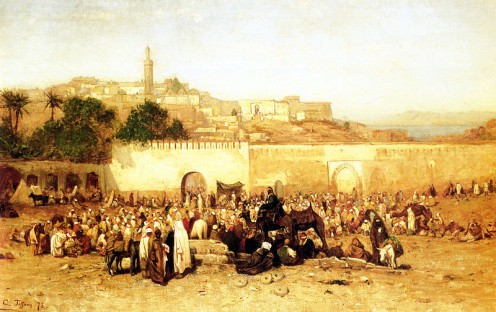 Market Day Outside the Walls of Tangiers, Morocco in 1873.