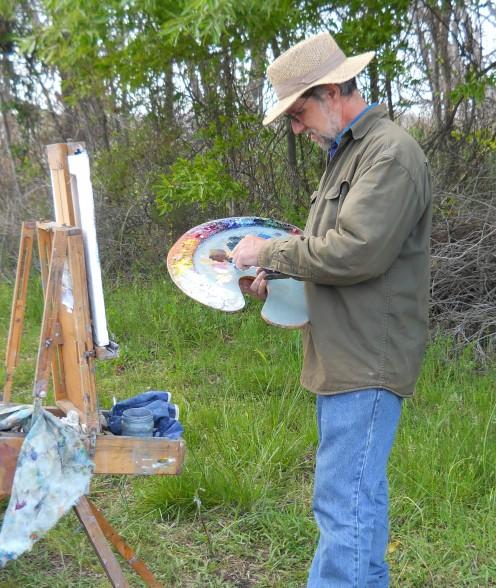 Jim Rehak painting a scene in Prime Hook National Wildlife Refuge.