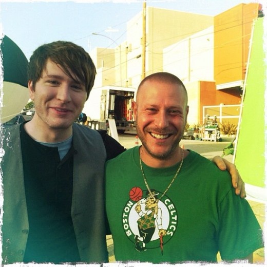 """On the set of Shooting Star with director Ethan Lader.""  (all captions are from @owlcity on twitter)"