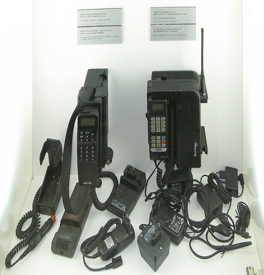 Early 'mobile' phones or car phones.