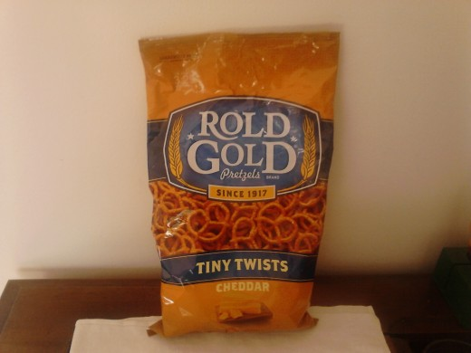 My half eaten bag of Rold Gold Tiny Twists Cheddar Pretzels