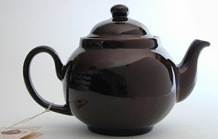 "Traditional terracotta ""Brown Betty"" teapot."
