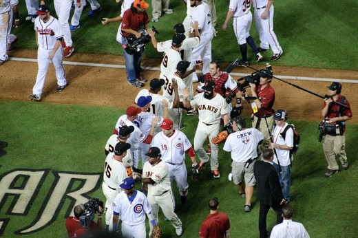 The National League celebrating their 2011 All-Star victory.