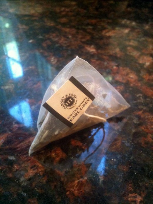 Pretty Earl Grey tea bag.