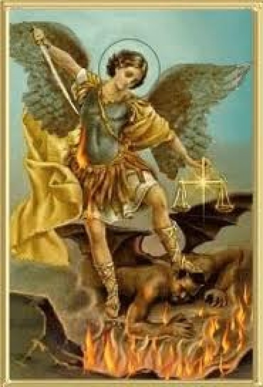 Michael along with the rest of God's army of angels defeat the Devil.