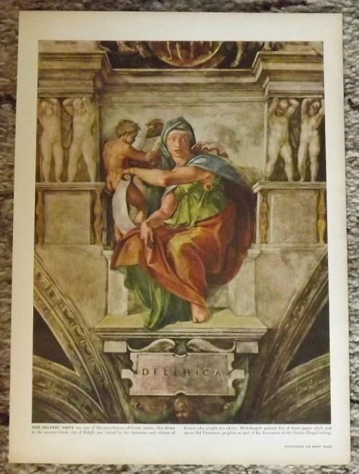 1946 Vintage Print--Michelangelo's Delphic Sybil, Greek Oracle, in the Sistine Chapel