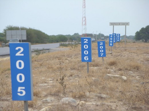 Signs in Zaragoza, Mexico marking the annual movement of the Tropic of Cancer due to nutation.