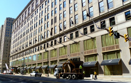 Former Higbee Building now sports black awnings and flagpoles