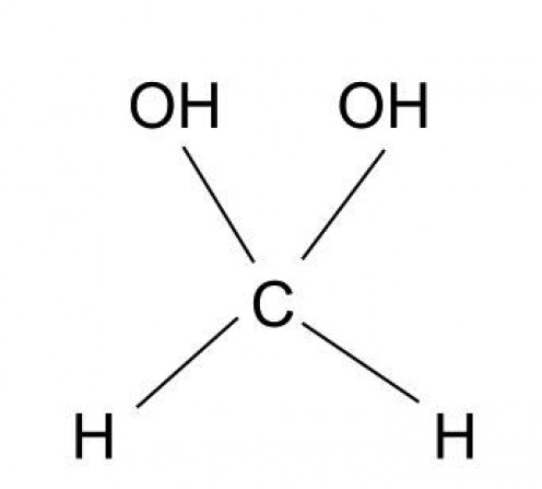 A simplified picture of the carbonyl hydrate made from formaldehyde