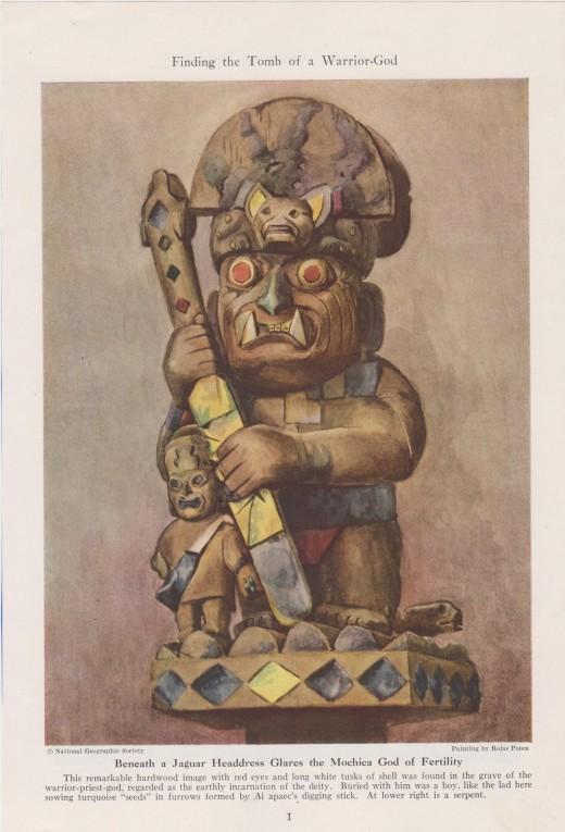 "1947 Vintage Print--Rojas Ponce's ""Ai Apaec--Mochica God of Fertility"""