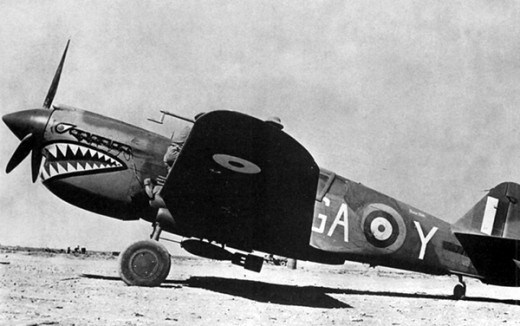 """London Pride,"" a British Royal Air Force P-40 similar to the one recently found. The sharkmouth nose art, later made famous by the American ""Flying Tigers"" in Asia, actually originated with British pilots in the Western Desert."