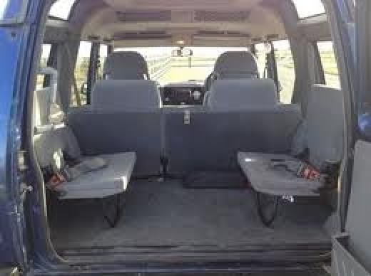 Inside, in the back. This is the 1989-98 first series of Discovery with a pair of 'dickie' seats at the rear. Lot's of space!