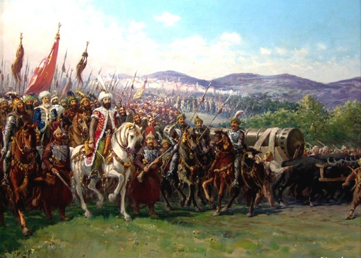 A modern painting showing Mehmed and his army approaching Constantinople