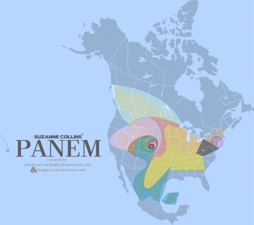 A Map of Panem, the world from the Hunger Games