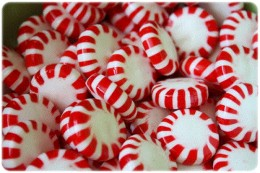 Peppermint candies in a basket