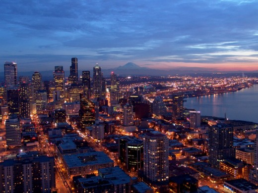 Seattle and Mount Rainier from the Space Needle