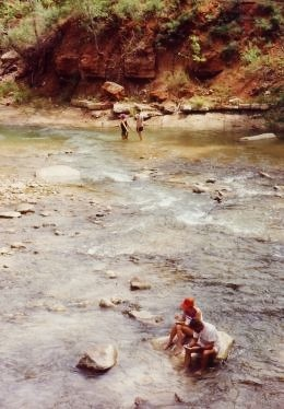 Cooling off in the Virgin River in Zion