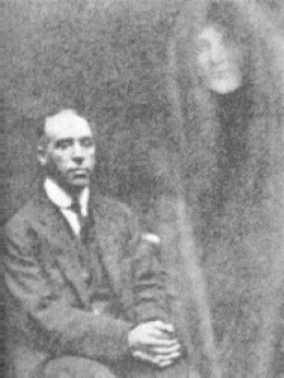 An early photograph purporting to show a spirit.  It is a fake.