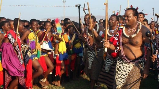 Sexuality is understood differently in some monarchies: Un-married girls dance for King Mswati III in Swaziland