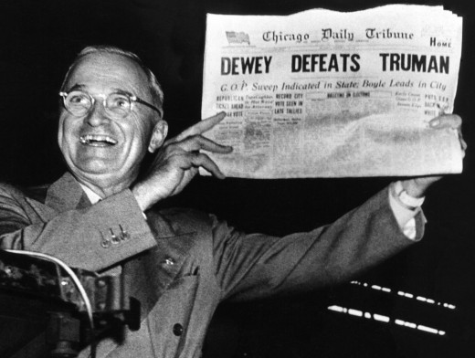 President Truman holding the infamous Chicago Tribune issue after winning the 1948 election