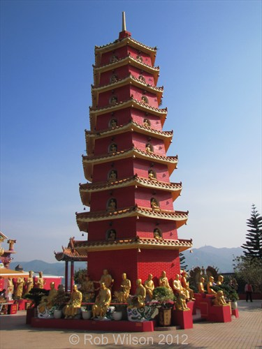 The nine story Pagoda at the Monastery of the 10,000 Buddhas in Sha Tin, Hong Kong.