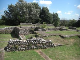 The ruins of the Roman fort at Richborough, named as Rutupiae and as part of the Saxon Shore forts.