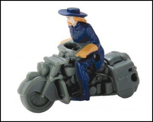 general custer on motorcycle figurine toy