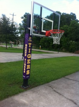 Our Goalrilla 2 Basketball Goal with additional LSU Team Safety Pad