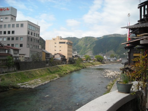 View of downtown Gujo City and the Nagara River.