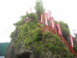A hilltop Shinto shrine in the middle of Gujo City.