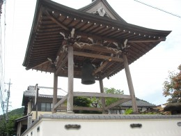 A bell tower outside a temple in Gujo City.