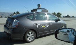 "One of Google's ""Auto cars"" that made its debut on Nevada roadways the first week of May 2012."