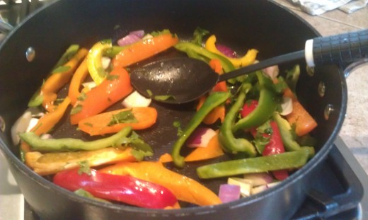 Stir frying the vegetables