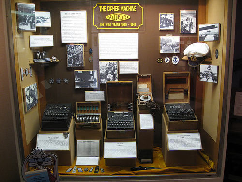 a display of German Enigma Machines