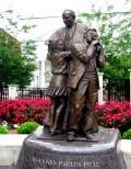 The statue of Pope John Paul II in the Prayer Garden