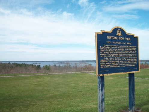 Historical plaque, Chippewa Bay area, New York