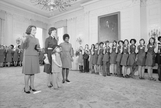 Former First Lady Rosalyn Carter with representatives from the Girl Scouts of America