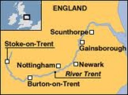 The course of the Trent from the Staffordshire hills in the west midlands to the Humber and the North Sea in the east