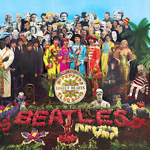 One of rock's most famous album covers: Sgt. Pepper's Lonely Heart's Club Band.