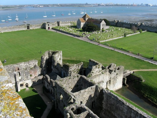 A view from the tower of Portchester Castle, looking down on the walls built for the 3rd century Roman fort.