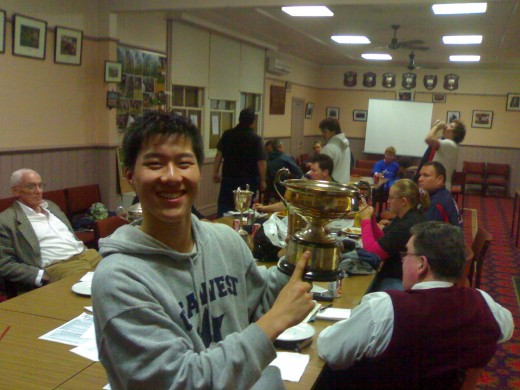 As you can see, my son is adopted. Here he is getting yet another best and fairest. He has a room full of such trophies.