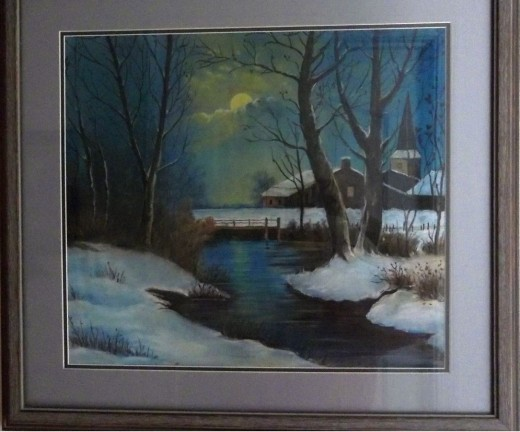 This snow scene is the only chalk 'painting', done when Mom was about 16 years old.